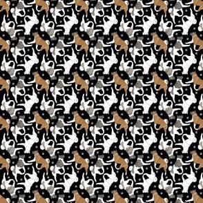 Tiny Trotting Akitas and paw prints - black