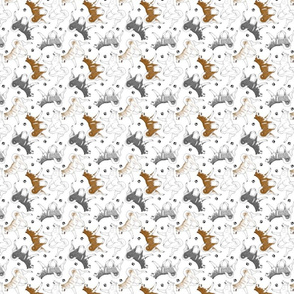 Tiny Trotting Alaskan Malamutes and paw prints - white