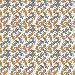 Tiny Trotting Australian Cattle Dogs and paw prints - white