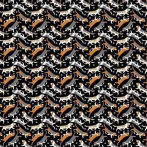 Tiny Trotting Basset hounds and paw prints - black