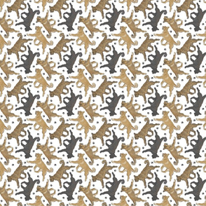 Tiny Trotting Berger Picard and paw prints - white