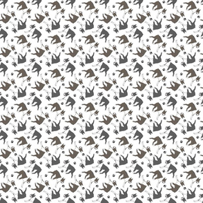 Tiny Trotting Boston Terriers and paw prints - white