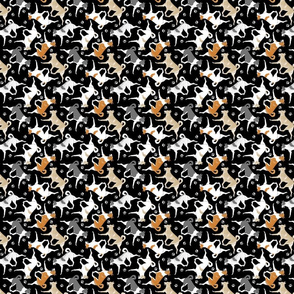 Trotting Canaan dogs and paw prints - tiny black
