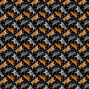 Trotting Cavalier King Charles Spaniels and paw prints - tiny black