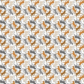 Trotting Chinese Shar pei and paw prints - tiny white