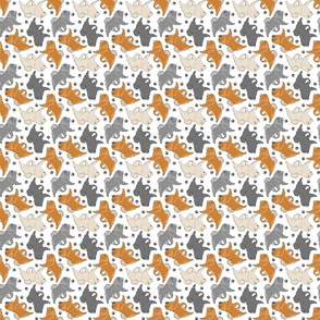Trotting Chow Chow and paw prints - tiny white