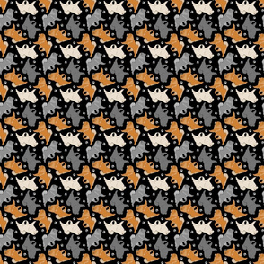 Tiny Trotting Chow Chow and paw prints - black