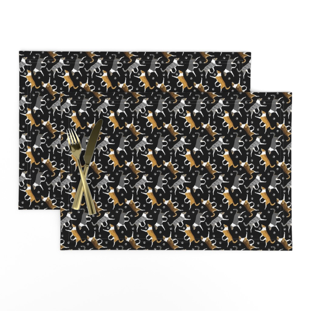 Lamona Cloth Placemats featuring Trotting smooth coated Collies and paw prints - tiny black by rusticcorgi