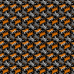 Trotting English toy spaniels and paw prints - tiny black