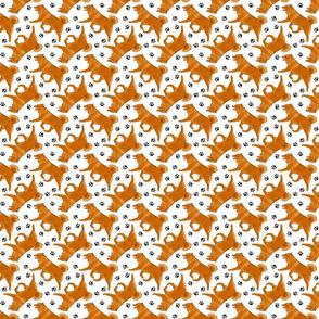 Tiny Trotting Finnish spitz and paw prints - white