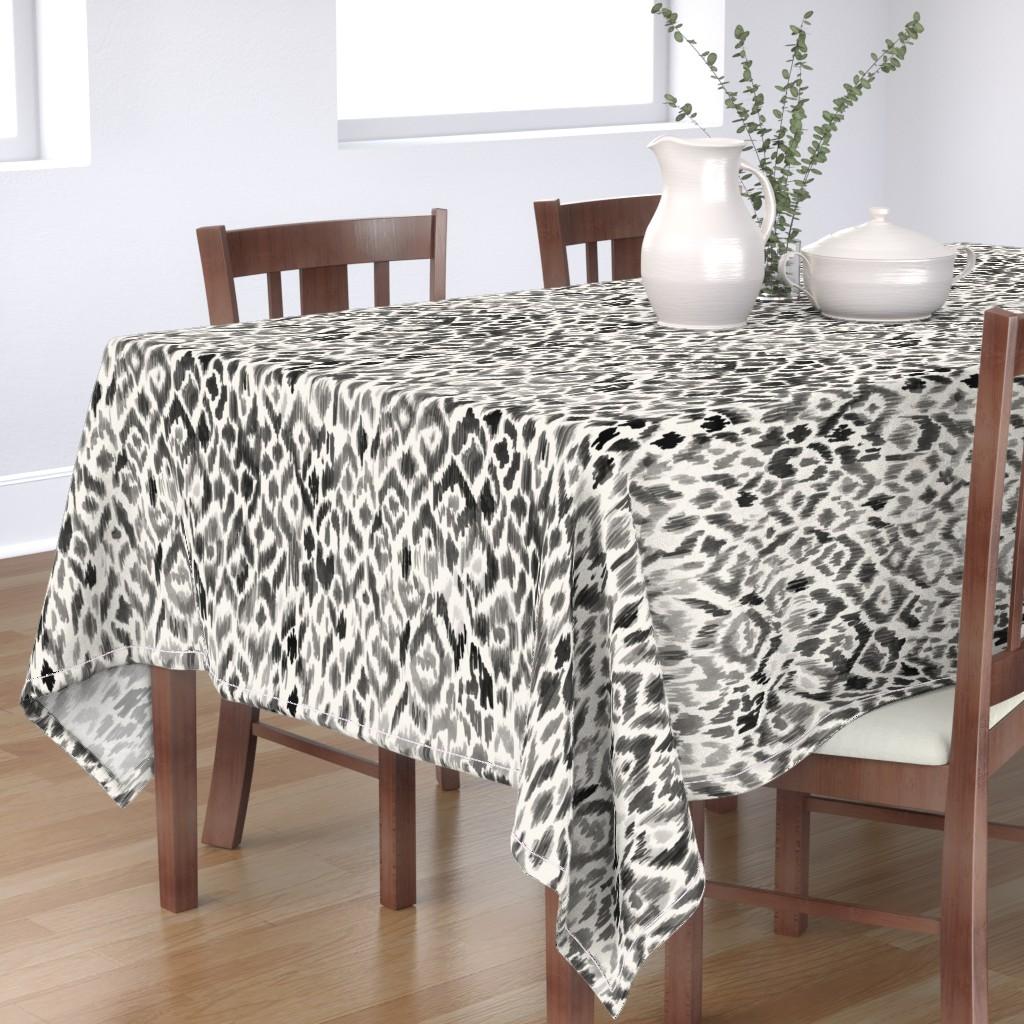 Bantam Rectangular Tablecloth featuring bohemian ikat leopard by crystal_walen