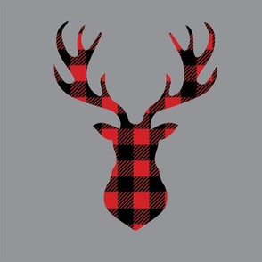 "8"" Quilt block - Deer head buffalo plaid and grey background"