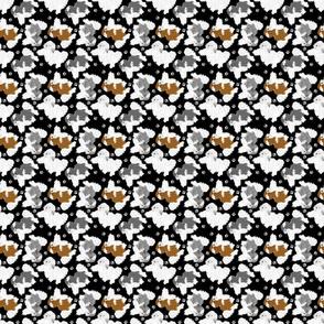 Trotting Havanese and paw prints - tiny black