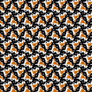 Trotting Kooikerhondje and paw prints - tiny black