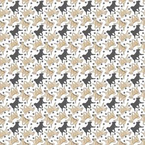 Tiny Trotting Norwegian Buhunds and paw prints - white
