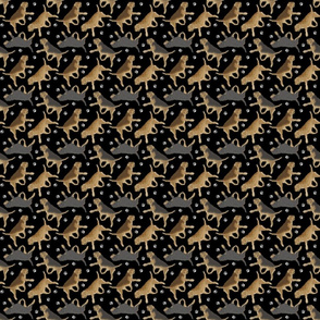 Trotting Otterhounds and paw prints - tiny black