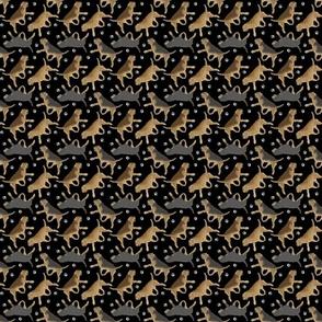 Tiny Trotting Otterhounds and paw prints - black