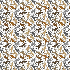 Trotting Whippets and paw prints B - tiny white