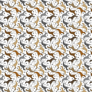 Trotting Whippets and paw prints C - tiny white