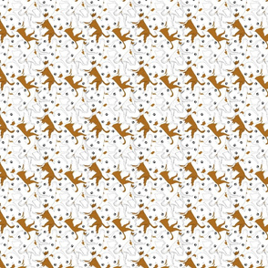 Trotting Ibizan hounds and paw prints - tiny white