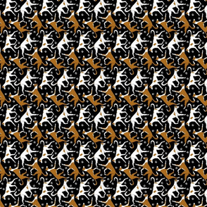 Trotting Ibizan hounds and paw prints - tiny black