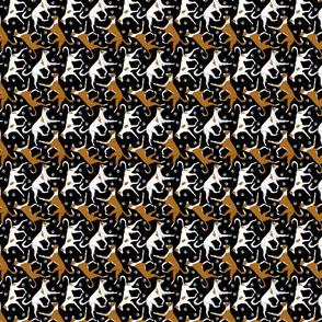 Tiny Trotting Ibizan hounds and paw prints - black