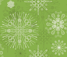 Greenery sewing notions in snowflake mandalas