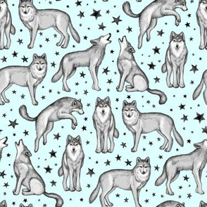 Wolves and Stars on Light Blue