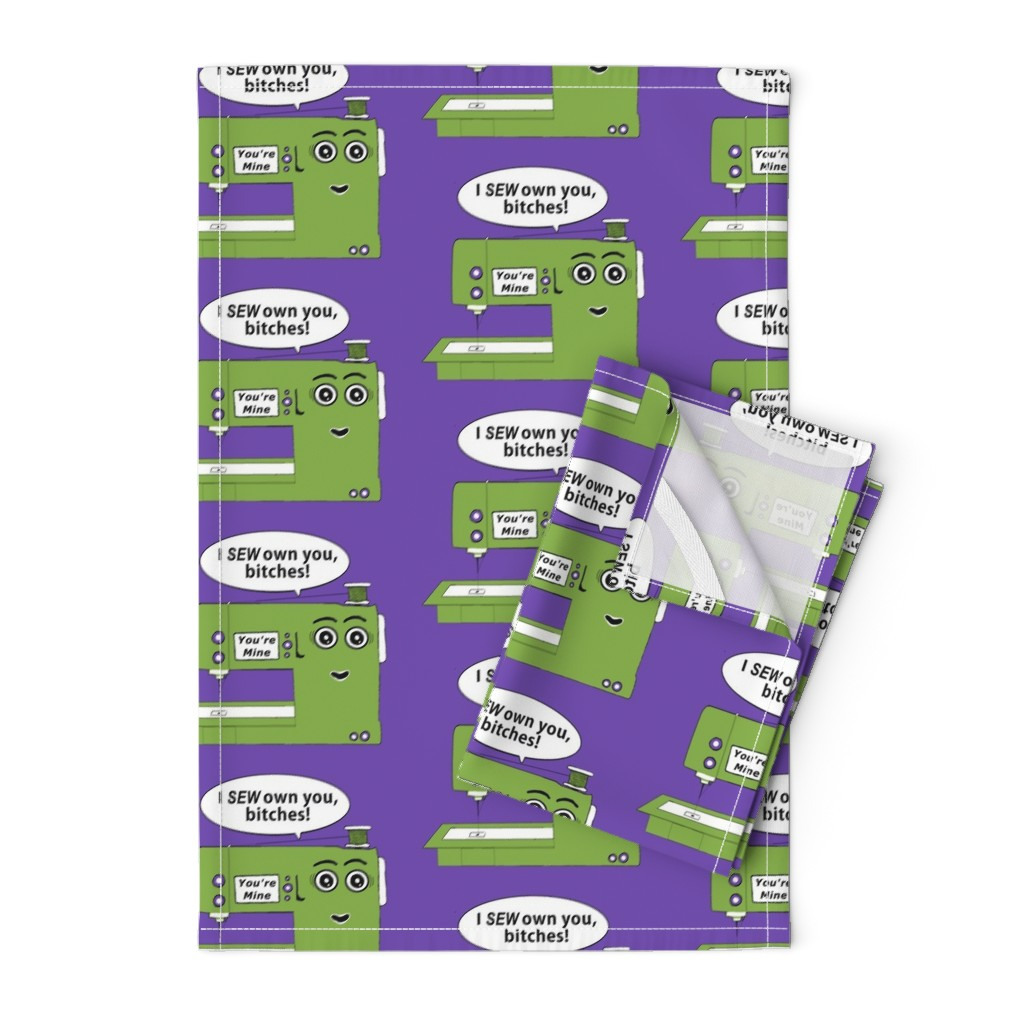 Orpington Tea Towels featuring You Got Owned by your sewing machine, large scale, green purple violet orchid lilac lavender by amy_g