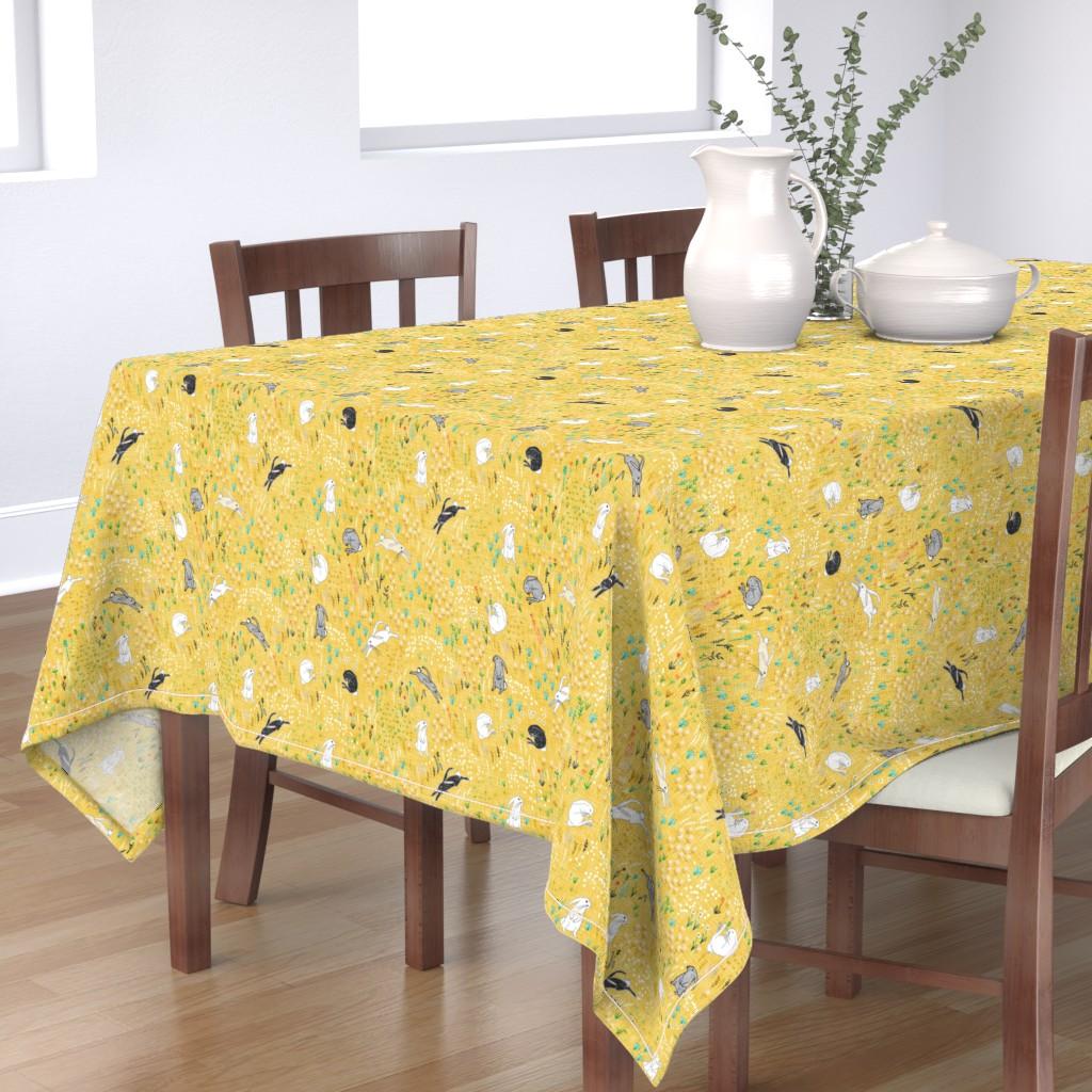 Bantam Rectangular Tablecloth featuring Ambrosia Bunny Field (butter Yellow Linen) by nouveau_bohemian