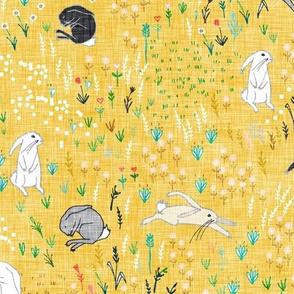 Ambrosia Bunny Field (butter Yellow Linen)