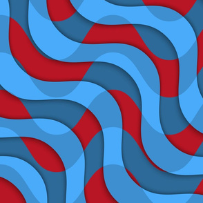 Retro 3D red blue overlaying waves