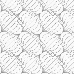 Slim gray diagonal merging Chinese lanterns
