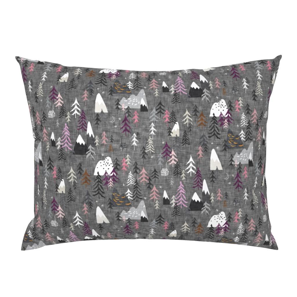 Campine Pillow Sham featuring Forest Peaks (charcoal + plum) by nouveau_bohemian