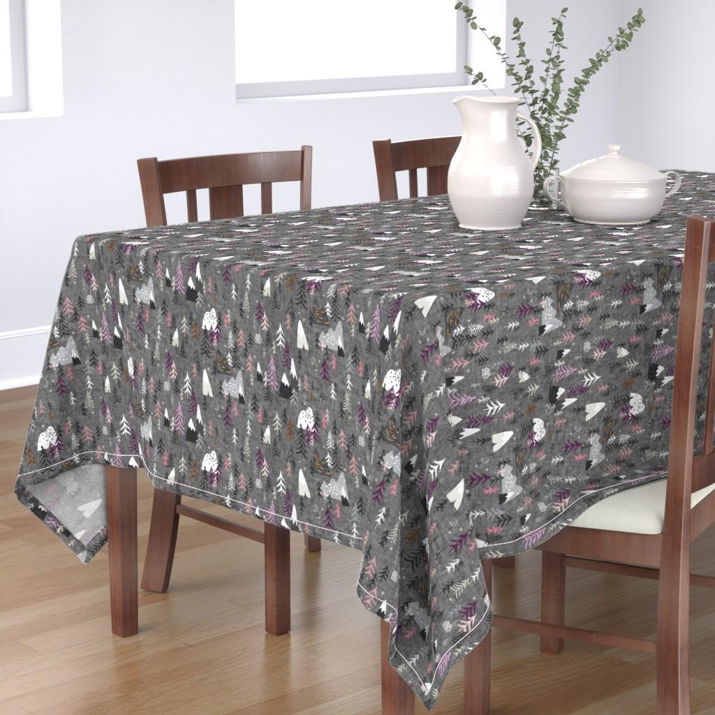 Bantam Rectangular Tablecloth featuring Forest Peaks (charcoal + plum) by nouveau_bohemian
