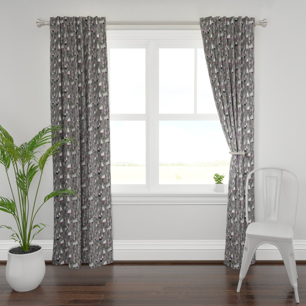Plymouth Curtain Panel featuring Forest Peaks (charcoal + plum) by nouveau_bohemian