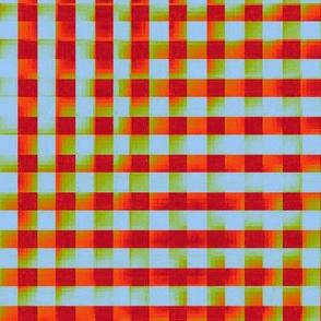 XL glitchy plaid - red, orange, olive, light blue