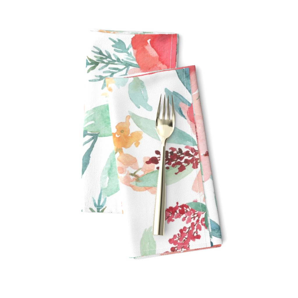 Amarela Dinner Napkins featuring Large Watercolor Flowers by taylor_bates_creative