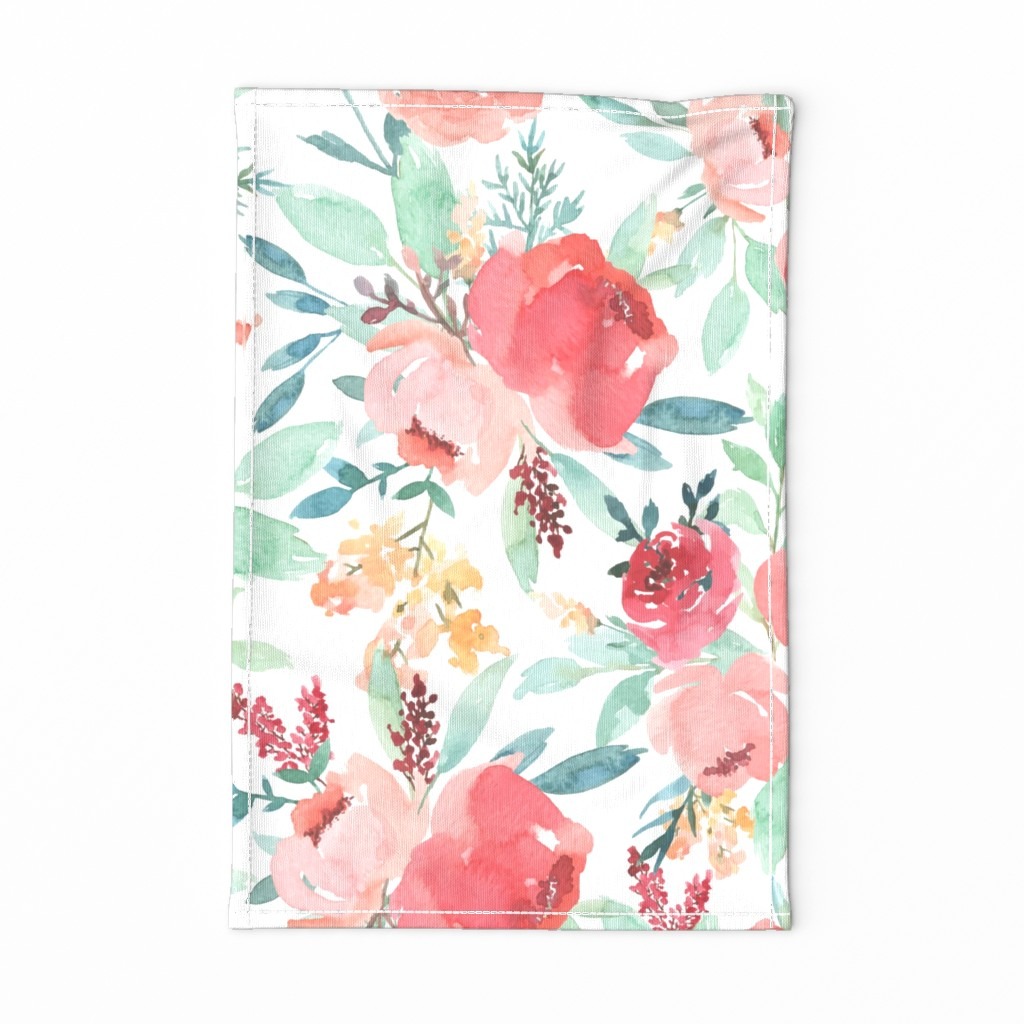 Special Edition Spoonflower Tea Towel featuring Large Watercolor Flowers by taylor_bates_creative