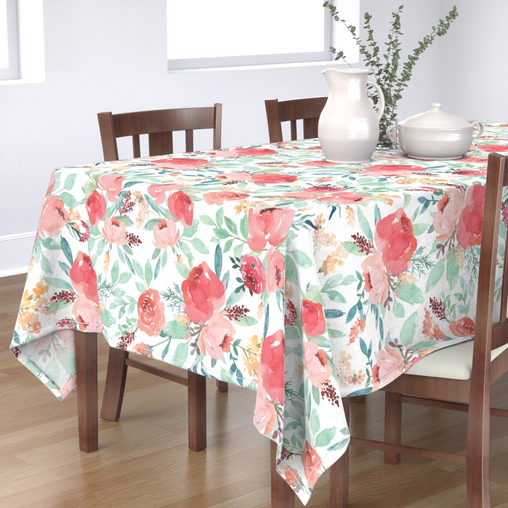 Bantam Rectangular Tablecloth featuring Large Watercolor Flowers by taylor_bates_creative
