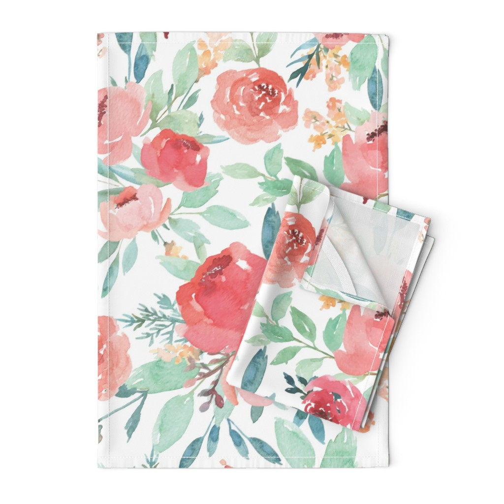 Orpington Tea Towels featuring Large Watercolor Flowers by taylor_bates_creative