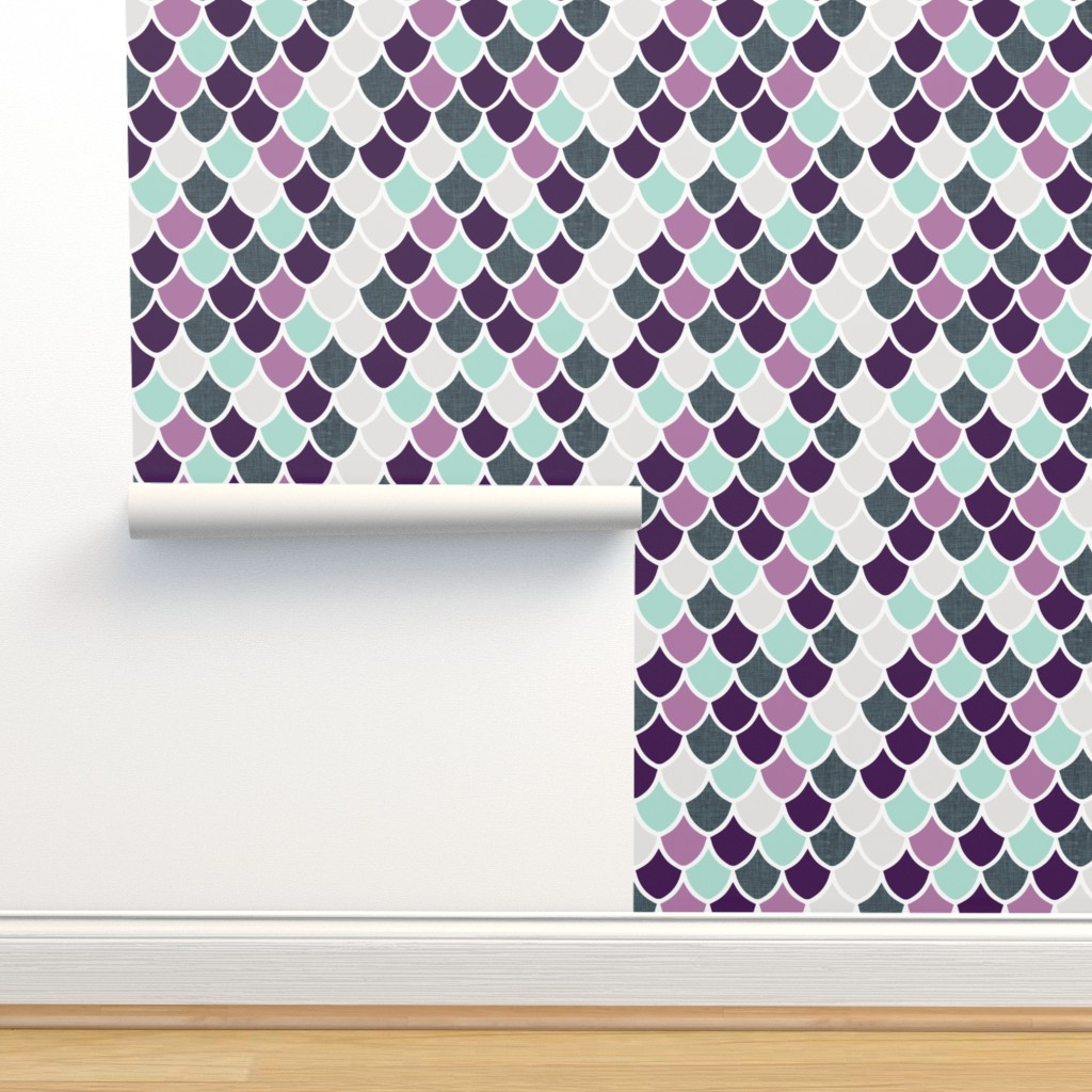 Isobar Durable Wallpaper featuring purple + aqua mermaid scales by ivieclothco