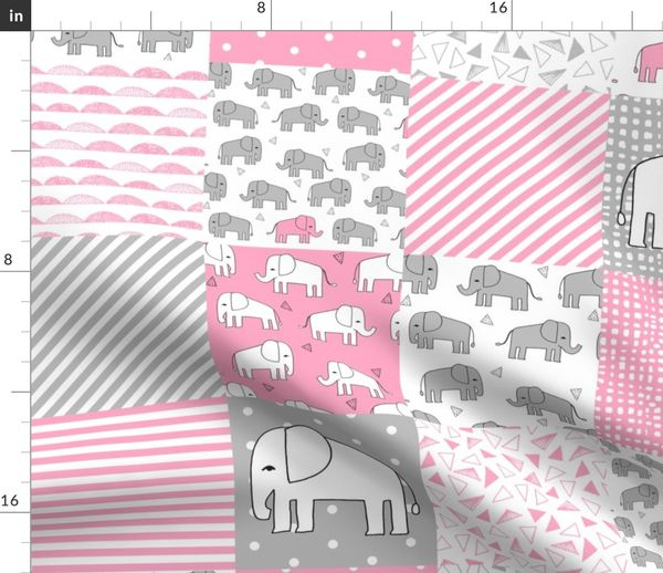 c9091826f elephant quilt // pink and grey elephants fabric pink and grey nursery baby  fabric