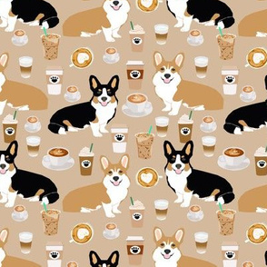 corgis and coffees fabric best tri colored coffee design cute coffees and dogs print