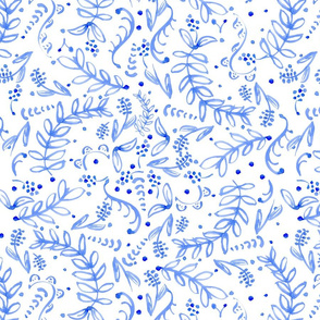 Pretty Blue & White Swirling Florals