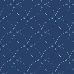 faux sashiko circles on navy