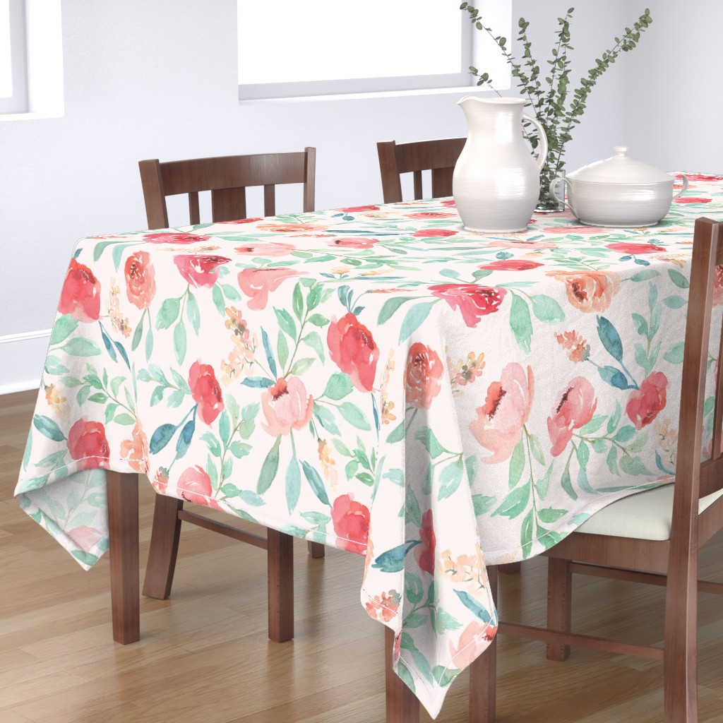 Bantam Rectangular Tablecloth featuring Large Watercolor Floral on Pink by taylor_bates_creative