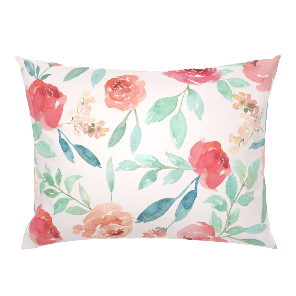Campine Pillow Sham featuring Large Watercolor Floral on Pink by taylor_bates_creative