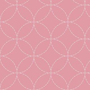 faux sashiko circles on hyacinth pink