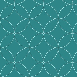 faux sashiko circles on teal